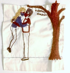 #covidkiss - love narrative embroidery with a kissing couple on vintage fabric