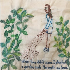 garden - love narrative embroidery on vintage fabric with a woman