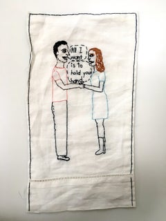 Hold Your Hand - love narrative embroidery with couple on white vintage fabric