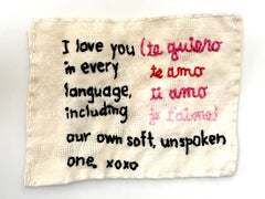 I Love You - love narrative embroidery black and pink on beige vintage fabric