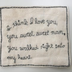 I think I love you- black and white narrative embroidery on vintage fabric