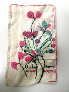 Our Love Blooms - love narrative embroidery with flowers on beige vintage fabric