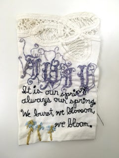 Our Spring - love narrative embroidery with flowers on vintage fabric