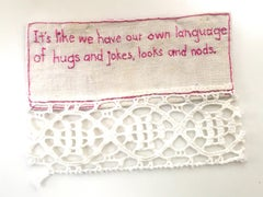 Own Language - love narrative embroidery pink thread on white vintage fabric