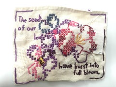 Seeds of Love - love narrative embroidery with flowers on beige vintage fabric