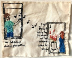 We fell in love during quarantine- love narrative embroidery on vintage fabric