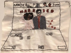 Zoom wedding - love narrative embroidery with mixed couple on vintage fabric