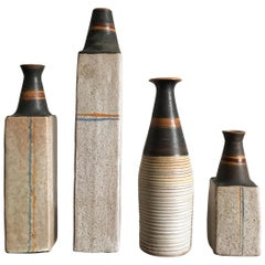 Ivo Sassi Mid-Century Modern Design Italian Ceramic Vases Bottles Set, 1950s