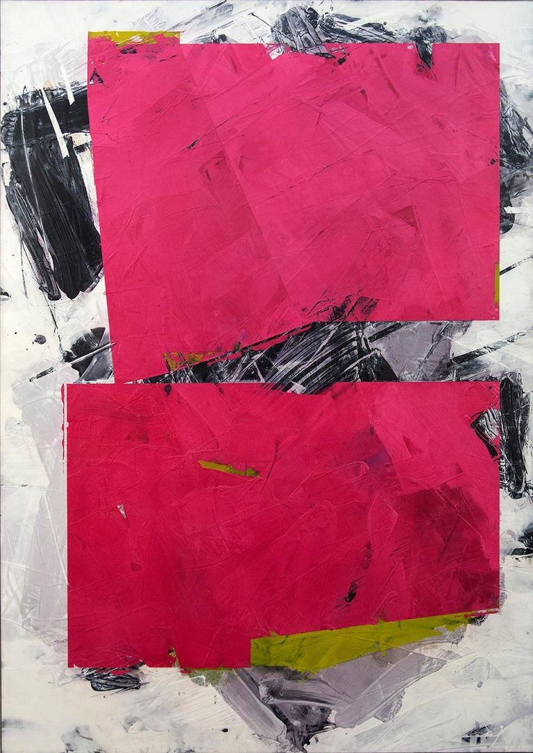 Shapes of deep fuchsia move across passages of dove grey, moss green and black in this abstract composition by Ivo Stoyanov. The layered surface of this bold work is created using marble dust, acrylic and wax and is polished into a rich satin
