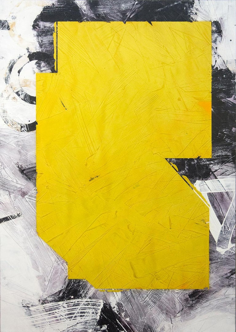 An angled shape in canary yellow floats on a ground of dove grey and black in this mixed media abstract composition by Ivo Stoyanov. The layered surface of this powerful painting is polished into a rich satin finish.   The bold, energetic paintings