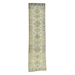 Ivory 1900 Antique Caucasian Karabakh Pure Wool Runner Rug