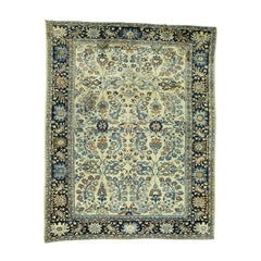 Ivory 1920 Handmade Persian Lilahan Rug, Floral Design