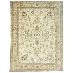 Ivory 1930s Vintage Persian Tabriz Hand Knotted Rug All-Over