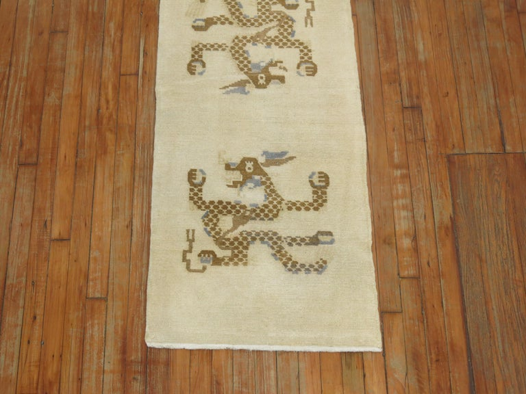 Chinese Export 1950s White, Brown & Blue Wool Tibetan Dragon Runner/Rug For Sale