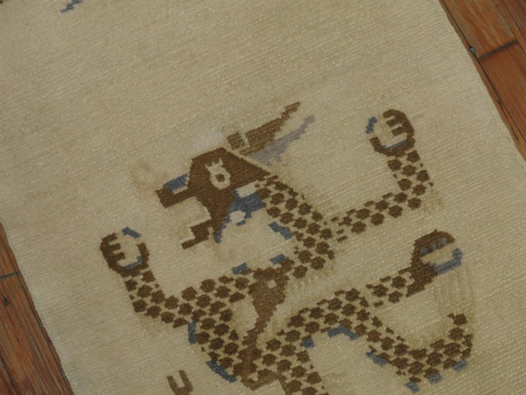 1950s White, Brown & Blue Wool Tibetan Dragon Runner/Rug In Good Condition For Sale In New York, NY