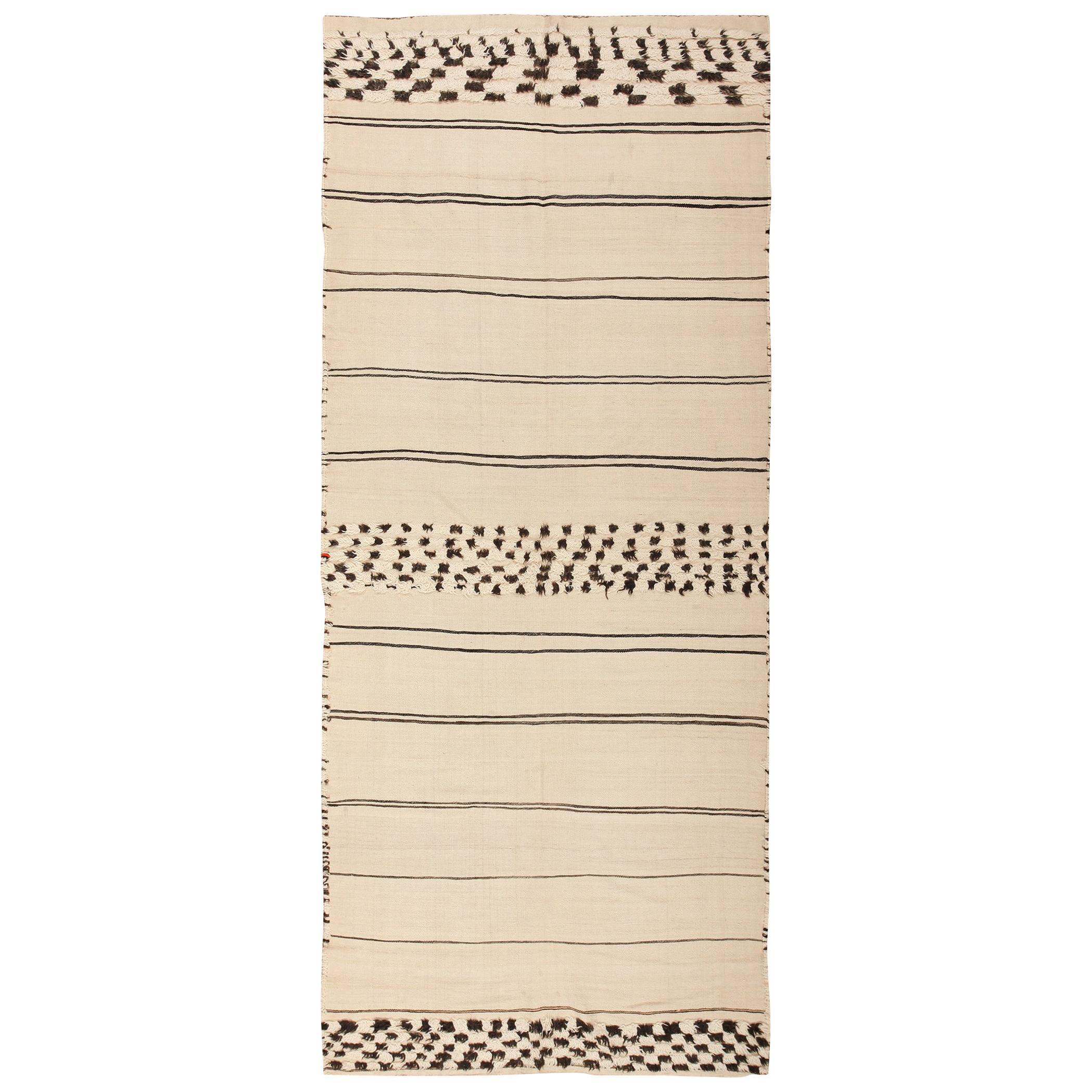Ivory and Black Vintage Moroccan Kilim Rug