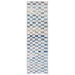Ivory and Blue Checkered Runner in Casual Modern Design