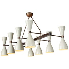 Ivory and Brass Eight Shade Chandelier