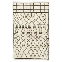 Ivory and Brown Color Handmade Berber Rug, 100% Wool Moroccan Rug