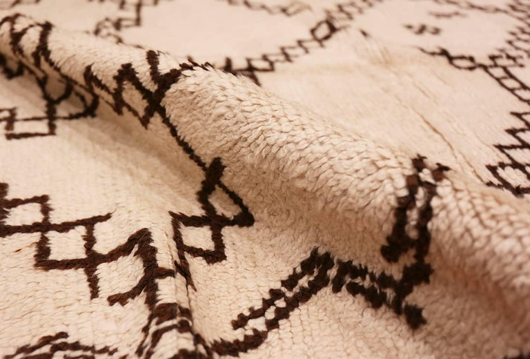 Hand-Knotted Ivory and Brown Moroccan Rug For Sale