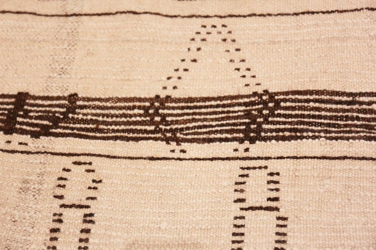 Ivory and Brown Moroccan Rug In Good Condition For Sale In New York, NY