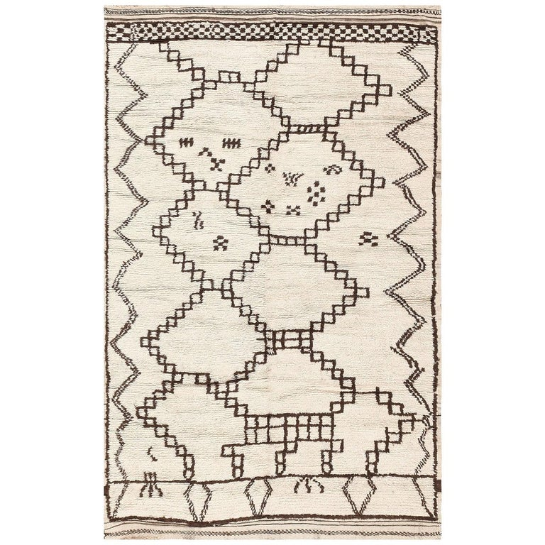 Ivory and Brown Moroccan Rug For Sale