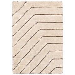 Ivory and Brown Textured Wool Custom Rug