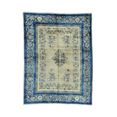 Ivory and Denim 1920 Hand Knotted Persian Kerman Rug