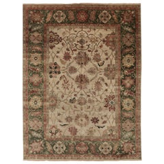Ivory and Green Contemporary Oushak Area Rug