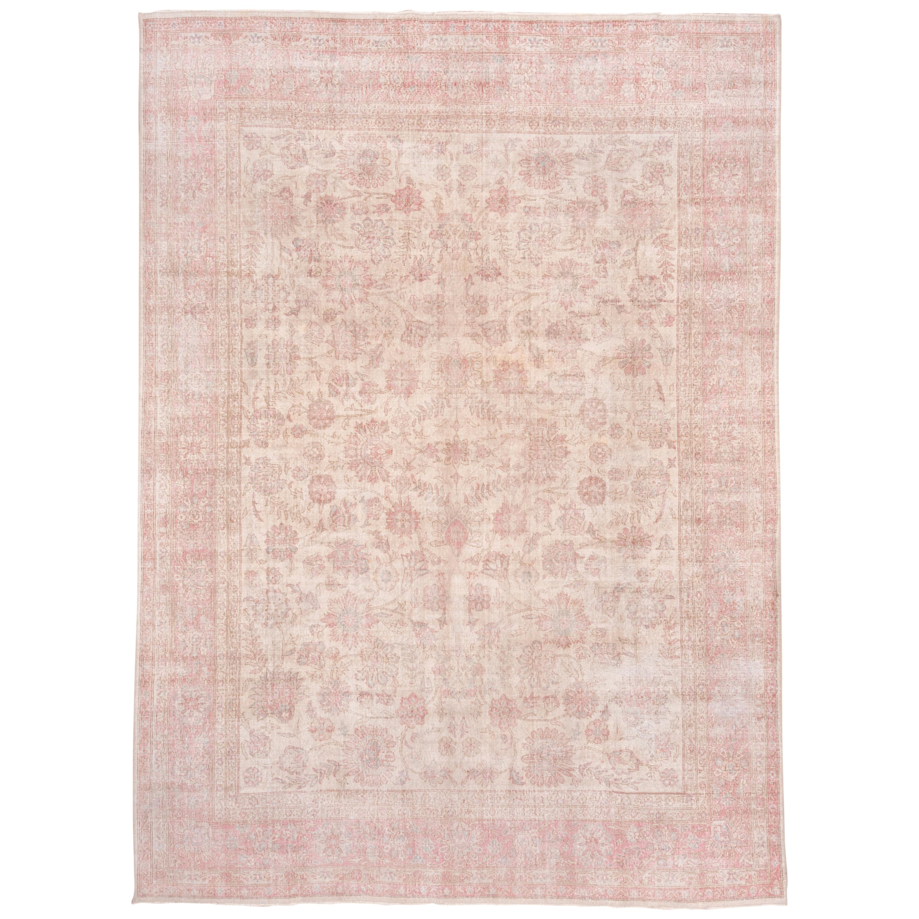 Ivory and Pink Oushak Carpet, Lightly Distressed