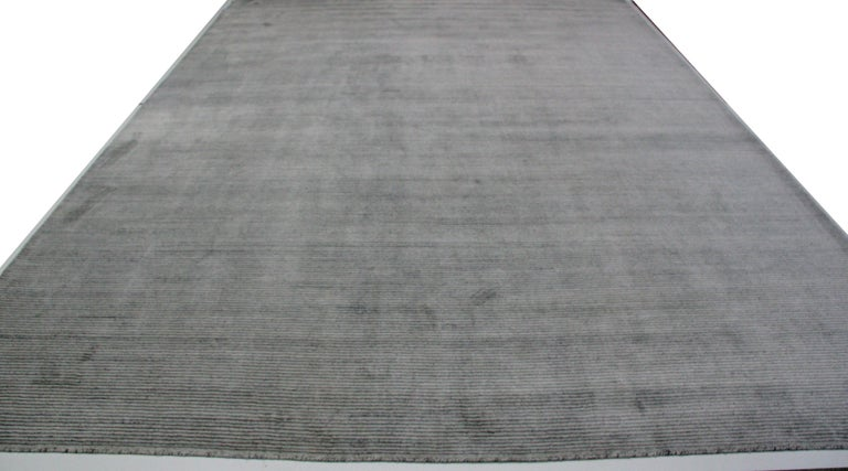Indian Ivory and Slate Stripe Area Rug For Sale