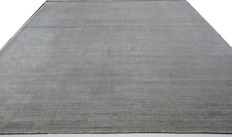 Hand-Knotted Ivory and Slate Stripe Area Rug For Sale