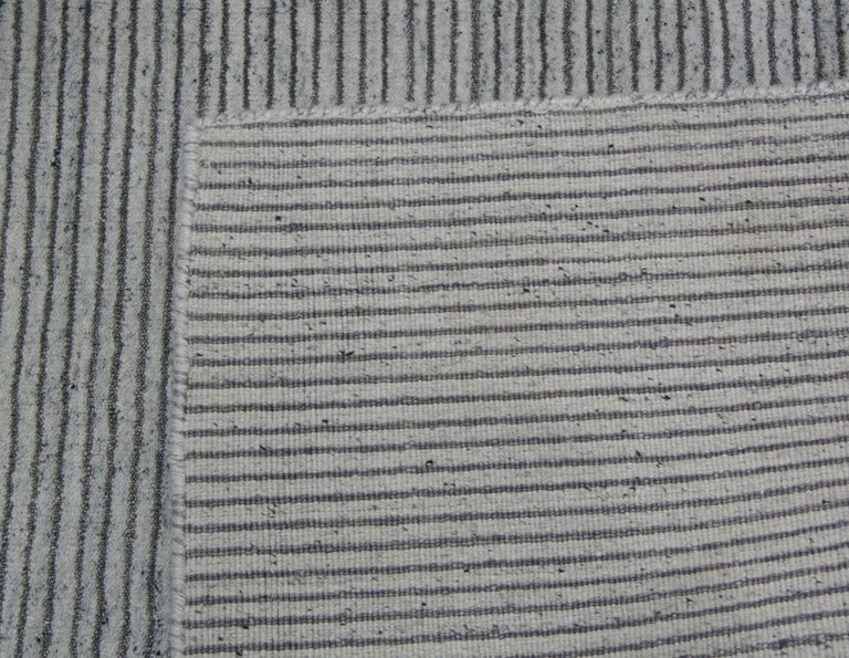 Ivory and Slate Stripe Area Rug In New Condition For Sale In Los Angeles, CA