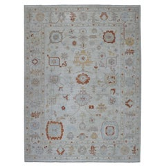 Ivory Angora Oushak Pure Wool Hand Knotted Oriental Rug
