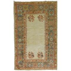 Ivory Antique Angora Wool 19th Century Turkish Oushak Rug