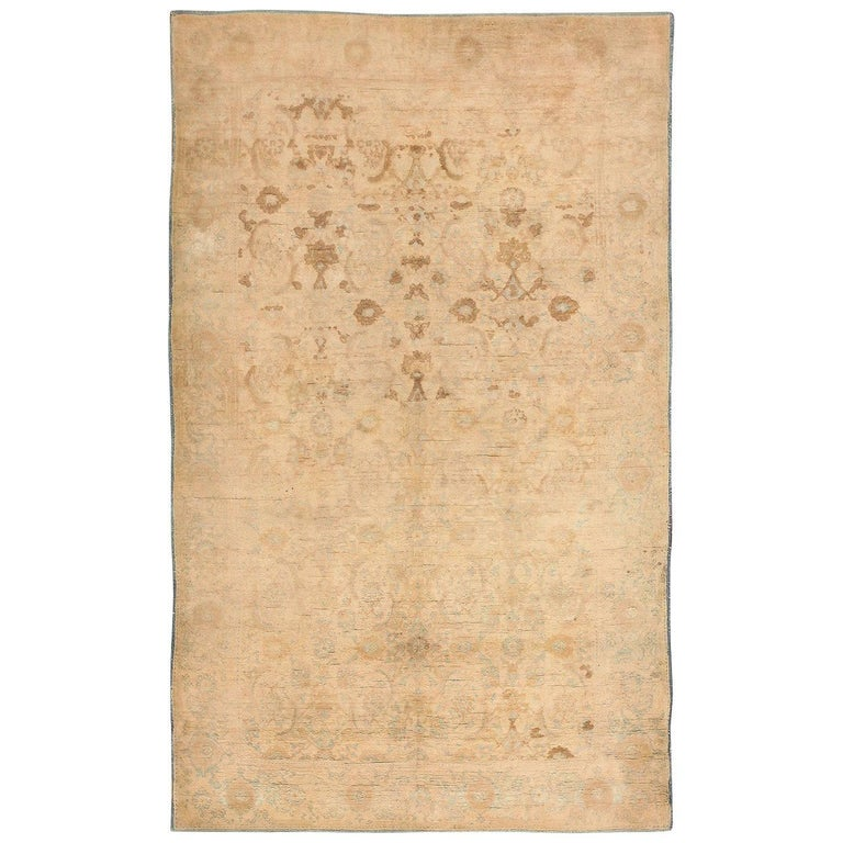 Antique Cotton Agra Rug With Abrash Circa 1900 For Sale: Ivory Antique Indian Cotton Agra Rug For Sale At 1stdibs