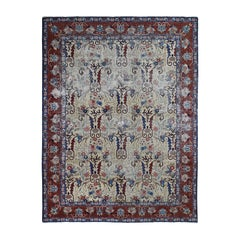 Ivory Antique Persian Heriz Worn But No Holes Clean Hand Knotted Oriental Rug