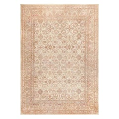 Ivory Background Antique Indian Amritsar Rug. Size: 13 ft x 18 ft 4 in