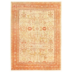 Ivory Background Antique Sultanabad Rug. Size: 9 ft x 12 ft 2 in