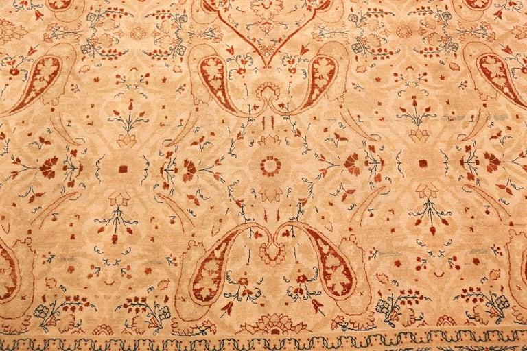 Ivory Background Antique Tabriz Haji Jalili Persian Rug. Size: 9' 2