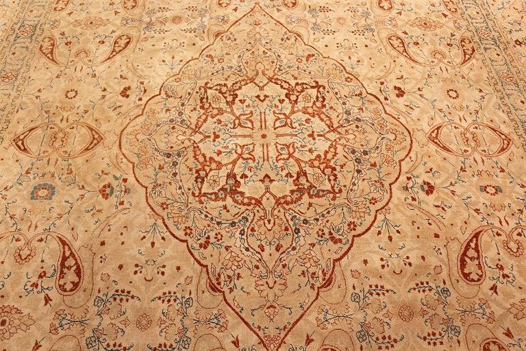 20th Century Ivory Background Antique Tabriz Haji Jalili Persian Rug. Size: 9' 2