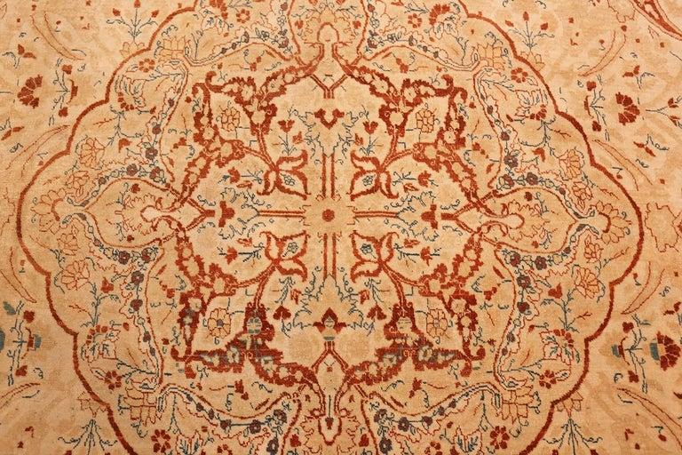 Wool Ivory Background Antique Tabriz Haji Jalili Persian Rug. Size: 9' 2