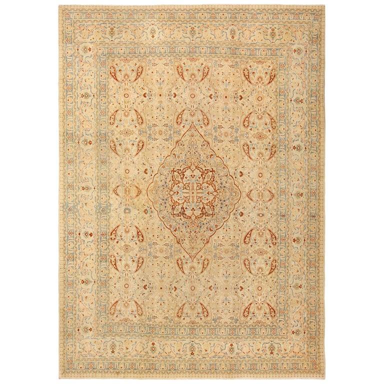"Ivory Background Antique Tabriz Haji Jalili Persian Rug. Size: 9' 2"" x 12' For Sale"