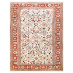Ivory Background Room Size Antique Persian Sultanabad Rug. Size: 11' x 14' 4""