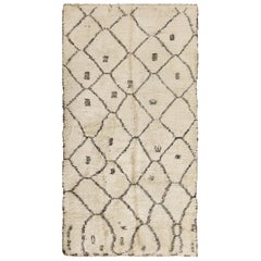 Ivory Background Vintage Beni Ourain Moroccan Rug
