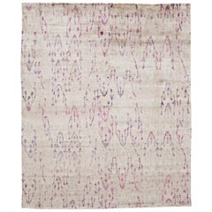 Ivory Beige Light Blue Lavender Hand Knotted Silk All-Over Decorative Rug
