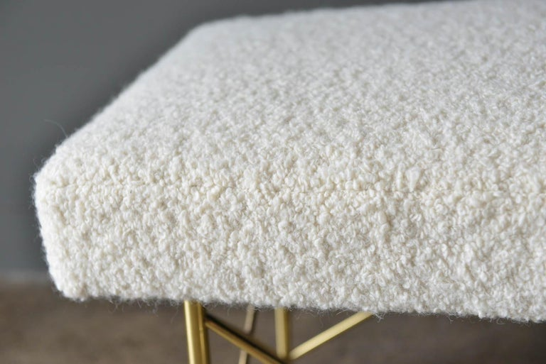 Ivory Bouclé and Brass X-Base Ottoman or Bench, circa 1970 4