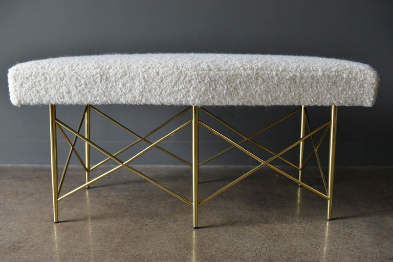 Mid-Century Modern Ivory Bouclé and Brass X-Base Ottoman or Bench, circa 1970