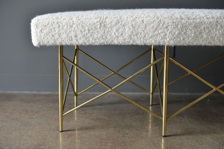 Ivory Bouclé and Brass X-Base Ottoman or Bench, circa 1970 In Excellent Condition In Costa Mesa, CA