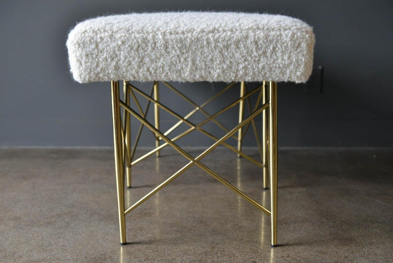 Late 20th Century Ivory Bouclé and Brass X-Base Ottoman or Bench, circa 1970